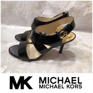 Michael Kors Black Patent Leather Sandal Heels